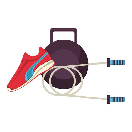 fitness equipment workout health and jump rope tennis symbols vector illustration graphic design Stock Illustratie