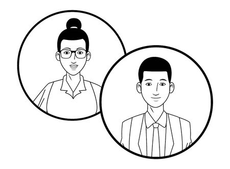 two business person couple with bun and glasses avatar cartoon character profile picture portrait in round icons black and white vector illustration graphic design Ilustracja