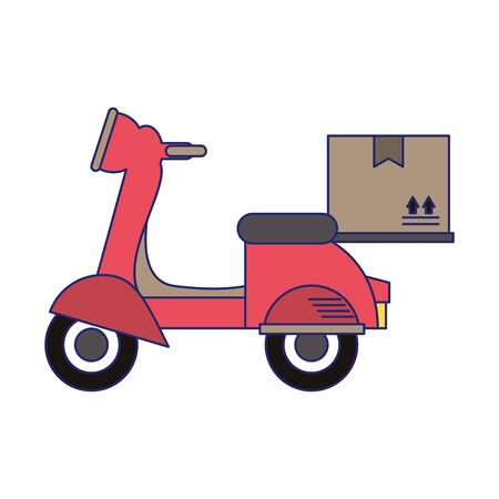 Delivery scooter with box symbol vector illustration graphic design