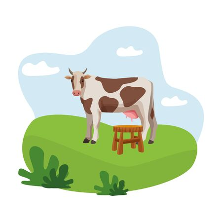 farm, animals and farmer cow and milk stool bench icon cartoon over the grass with bush and clouds vector illustration graphic design Vettoriali
