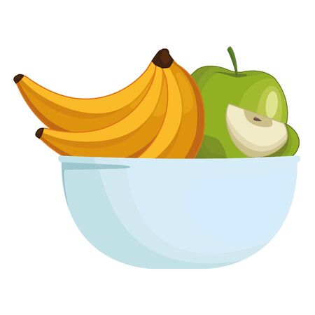 Fresh fruits bananas and apples in bowl cartoon vector illustration graphic design