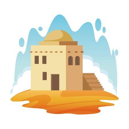 oriental antique aged desert building cartoon vector illustration graphic design