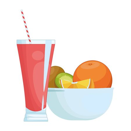 Natural red fruits juice cup and fruits in bowl vector illustration graphic design