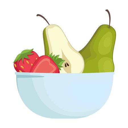 Fresh fruits pears and strawberries in bowl cartoon vector illustration graphic design