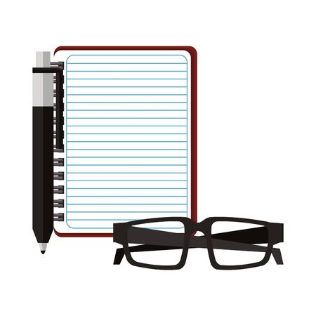 Blank notepad with pen and glasses isolated