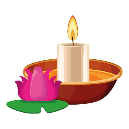 light candle on a bowl with lotus flower icon cartoon isolated vector illustration graphic design