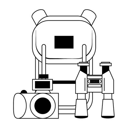 Summer and travel backpack binoculars and camera cartoons vector illustration graphic design
