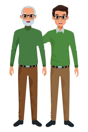 Family old father with adult son cartoon vector illustration graphic design  イラスト・ベクター素材
