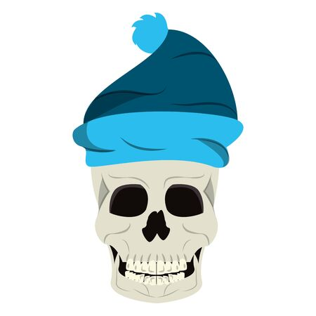 Cool skull with winter hat cartoon isolated vector illustration graphic design
