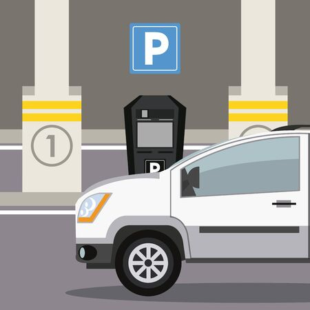 Car parked in lot with parking meter at city 일러스트