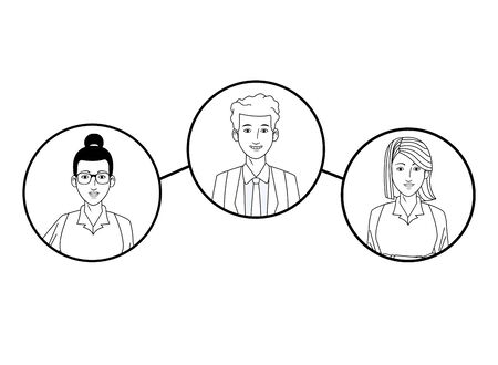 group of three business people afroamerican with bun and glasses, man smiling and woman with short hair avatar cartoon character profile picture in round icon black and white vector illustration graphic design