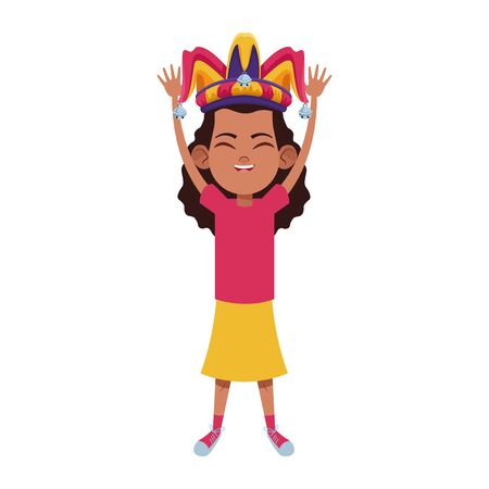 girl smiling and wearing jester hat with jingle bells avatar cartoon character vector illustration graphic design Иллюстрация