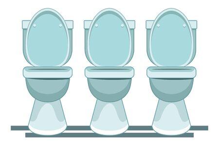 three toilet sanitary icon cartoon vector illustration graphic design