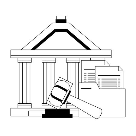 Justice building with documents and gavel symbol in black and white vector illustration