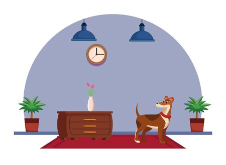 domestic animals and pet with dog over a carpet and next to a chest of drawer with flower vase chest of drawers, hanging lamp, clock and plant pot icon cartoon vector illustration graphic design Иллюстрация