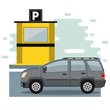 Car parked in lot with parking meter at city Stock Illustratie
