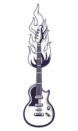 guitar with flame drawn in black and white tattoo icon vector illustration graphic design Иллюстрация