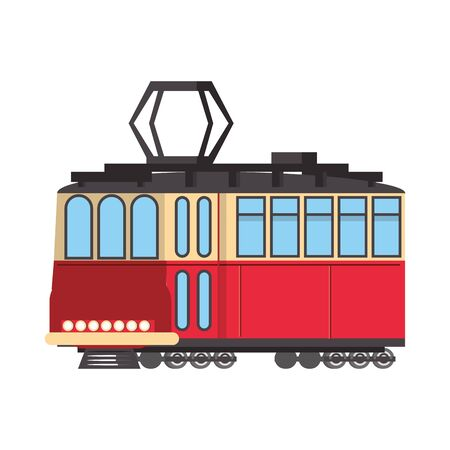 Tram public tranport vehicle isolated vector illustration