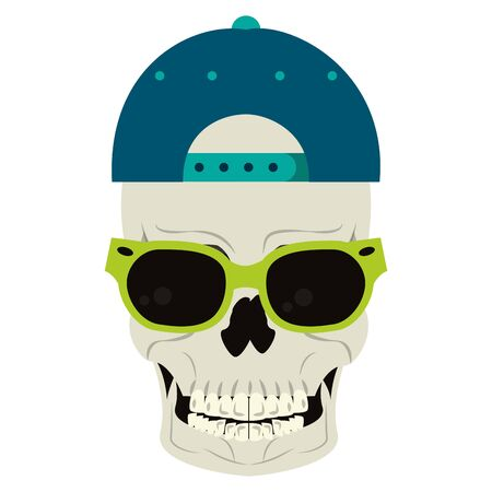 Cool skull with sunglasses and hat cartoon vector illustration graphic design
