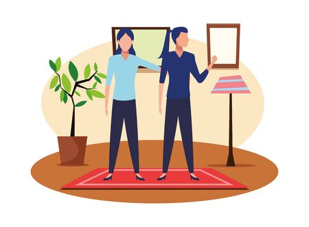 business people businesswoman holding a wand avatar cartoon character indoor with carpet, floor lamp, plant pot and frames on the wall vector illustration graphic design
