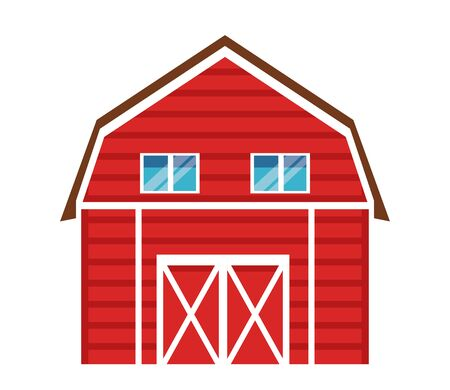 Diseño gráfico del ejemplo del vector de la historieta del icono del granero de la granja, de los animales y del granjero Ilustración de vector