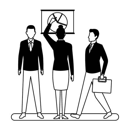business people businessman carrying a briefcase and businesswoman back view pointing a data chart avatar cartoon character in black and white Ilustracja