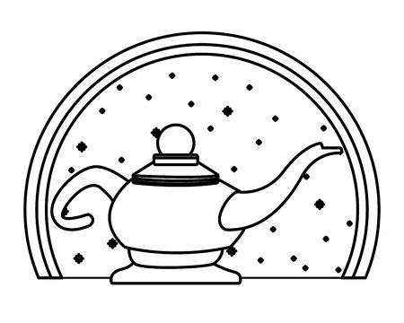 Magic lamp in round emblem background vector illustration graphic design
