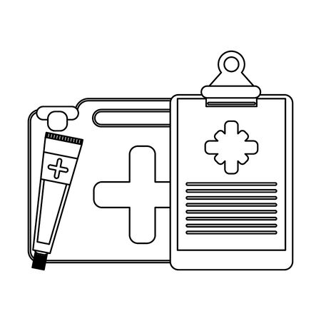 Medical equipment and supplies first aids suitcase clipboard and ointment vector illustration graphic design.