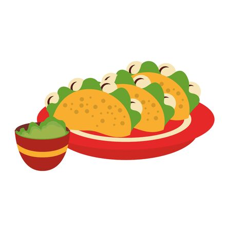 mexico culture and foods cartoons plate with tacos and guacamole vector illustration graphic design