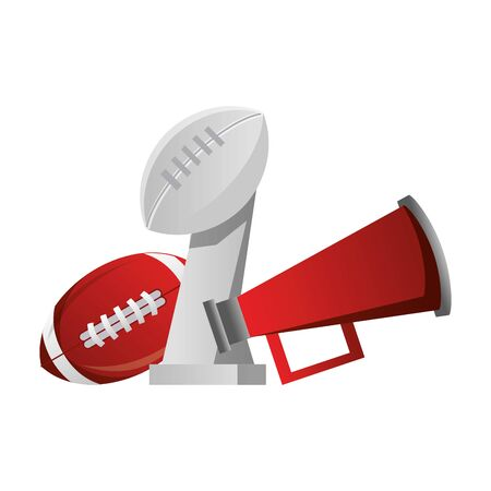 american football sport game champion trophy with ball and megaphone cartoon vector illustration graphic design