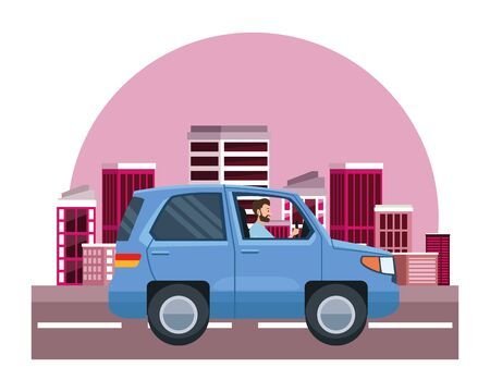 Man driving SUV vehicle sideview cartoon on the city, urban scenery background ,vector illustration graphic design.