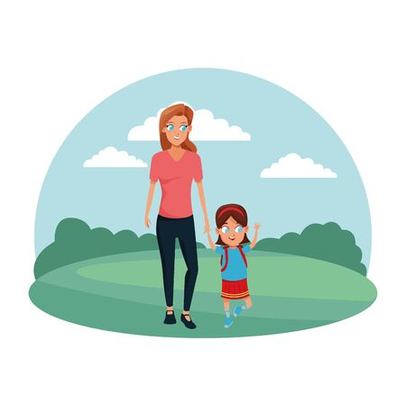 Family single mother with kid daughter holding school backpack in the nature park scenery ,vector illustration.