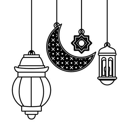 Antique lanterns and moon symbols hanging cartoon vector illustration graphic design Banco de Imagens - 129231389