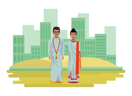 indian couple wearing traditional hindu clothes woman with sari and big earrings and man with moustache, glasses and a big necklace wearing traditional hindu clothes profile picture avatar cartoon character portrait outdoor over the sand in the desert and cityscape with skyscraper vector illustration graphic design Фото со стока - 129231298