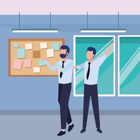 Successful businessmen working and talking inside office with windows and corkboard scenery, vector illustration. Illustration