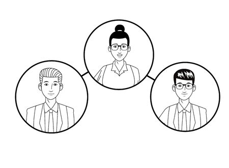 group of business people with bun and glasses, man with glasses and woman with bun avatar cartoon character profile picture in round icon black and white vector illustration graphic design