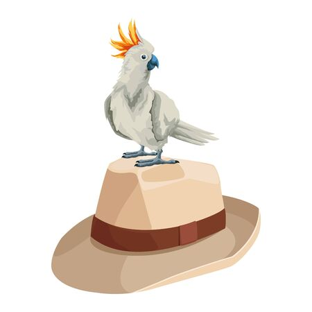 summer beach and vacation with cockatoo over a panama hat icon cartoon vector illustration graphic design