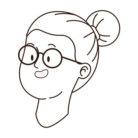 Teenager woman with glasses smiling face cartoon vector illustration graphic design Иллюстрация
