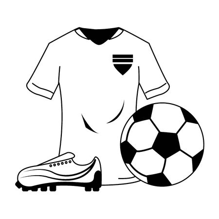 Soccer sport game tshirt ball and boot isolated vector illustration graphic design