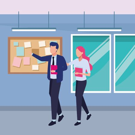 Businessman and businesswoman working and talking with office documents inside office with windows and corkboard scenery, vector illustration. Ilustracja