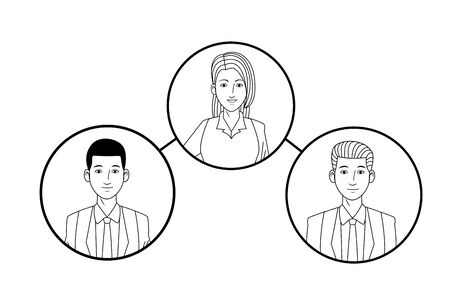 group of three business people afroamerican avatar cartoon character profile picture in round icon black and white vector illustration graphic design