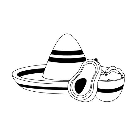 mexico culture and foods cartoons mariachi hat and plate on guacamole also avocado vector illustrationgraphic design