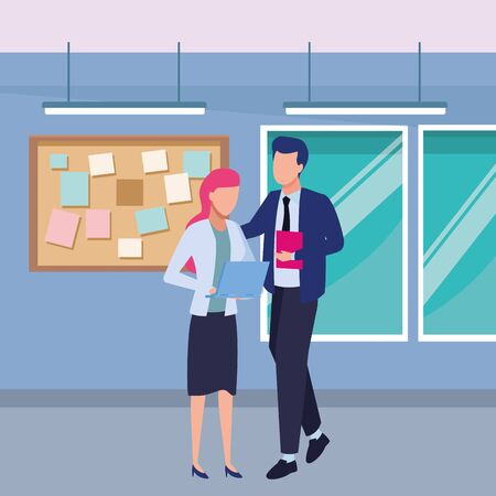 Business partners working with office laptop inside office with windows and corkboard scenery, vector illustration.