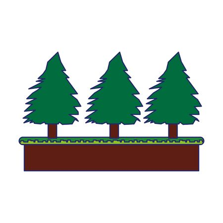Videogame pixelated landscape scenery with trees on terrain vector illustration graphic design Standard-Bild - 129231047