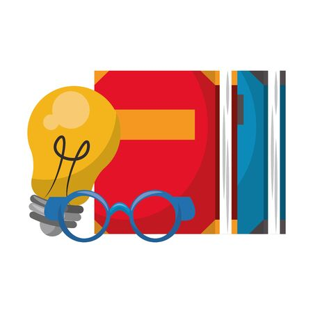 Books and bulb light with glasses cartoons vector illustration graphic design Ilustracja