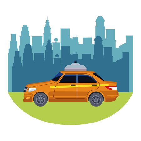 taxi car public transport service in urban city cartoon vector illustration graphic design