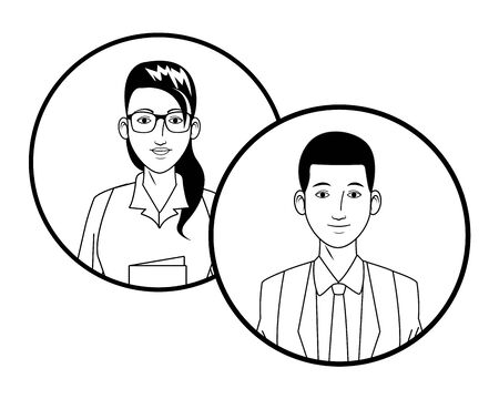 two business person afro american man and woman wearing glasses avatar cartoon character profile picture portrait in round icons black and white vector illustration graphic design Ilustracja
