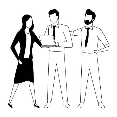 three business partners working with office supplies in black and white isolated faceless avatar vector illustration graphic design Ilustracja
