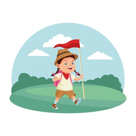Happy girl with camping backpack and flag ready to summer camp in nature scenery background ,vector illustration graphic design.