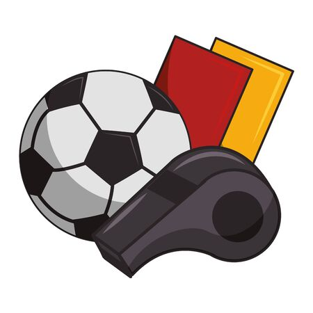Soccer sport game referee whistle with cards and ball isolated vector illustration graphic design Иллюстрация